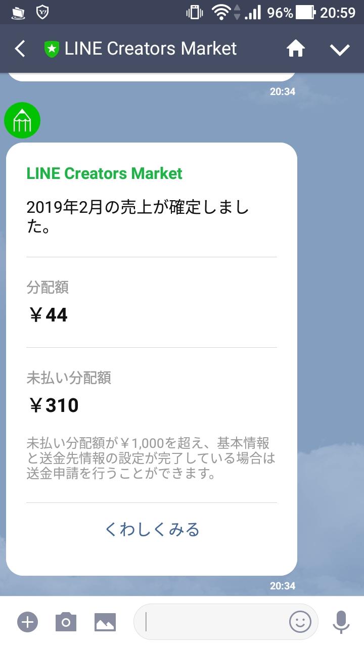 LINE Creators Marketから売上確定メッセージが届いた!4年間で分配額310円とは哀しい…